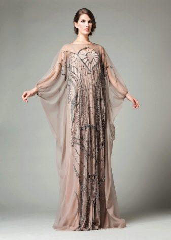 Платье вечернее с рукавом летучая мышь