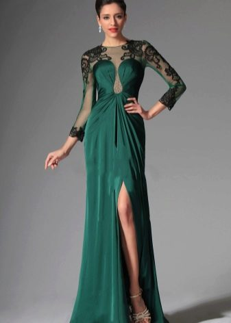 Вечернее зеленое платье с черным кружевом