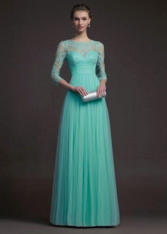 Вечернее зеленое платье