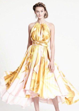Желтое платье вечернее с принтом
