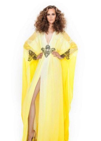 Вечернее желтое платье летние из шифона