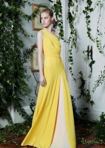 Платье вечернее желтое с белой вставкой