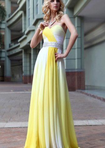 Бело-желтое вечернее платье