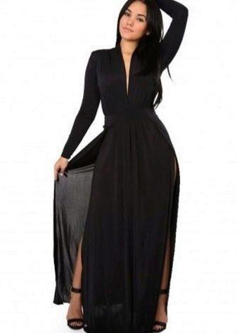 Черное вечернее платье для полных длинное с разрезом