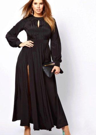 Черное вечернее платье для полных  с разрезом