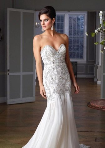 Вечернее платье белое гламурное русалка