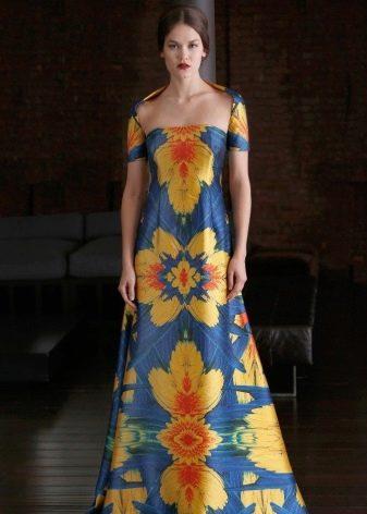 Вечернее сине-желтое платье