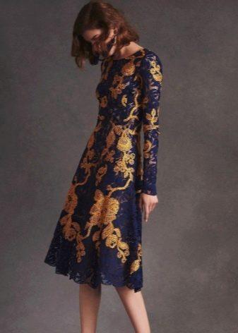 Платье кружевное желто-синее