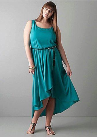 Синее вечернее платье короткое спереди длинное сзади для полных