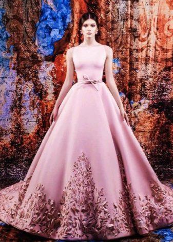 Свадебное платье с  эффектом 3D цветное