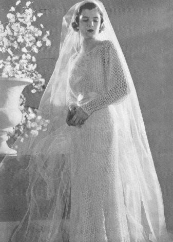 Винтажное вязаное свадебное платье