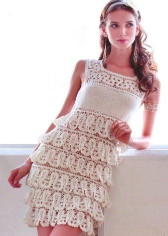 Вязанное свадебное платье из брюггского кружева короткое