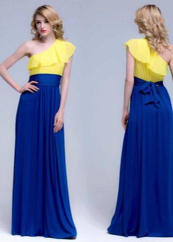Желто-синее вечернее платье