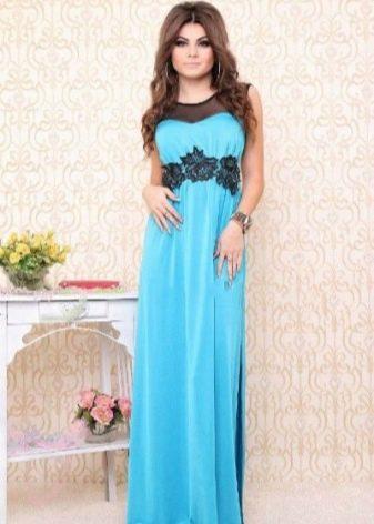 Платье голубое с черным