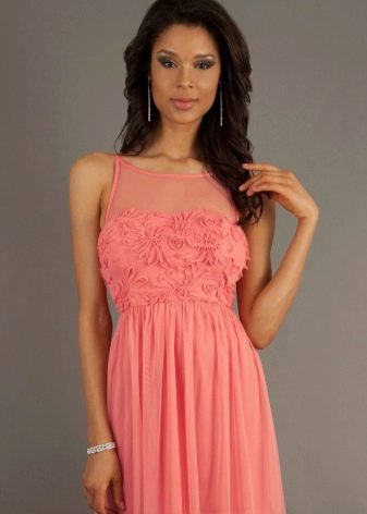 Розово-персиковое коралловое платье