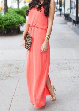 Розово-оранжевое коралловое платье