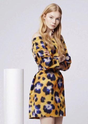 Леопардовый принт на желтом платье