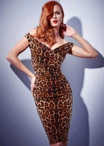 Сексуальльное леопардовое платье