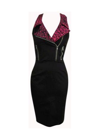 Черное платье с воротником с красным леопардовым принтом