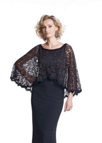Кружевная черная накидка на платье