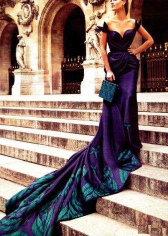 Баклажаново-зеленое платье