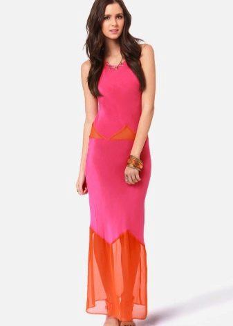 Платье цвета фуксии в сочетание с оранжевым