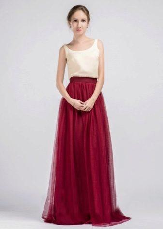 Платье марсала с бежевым топом