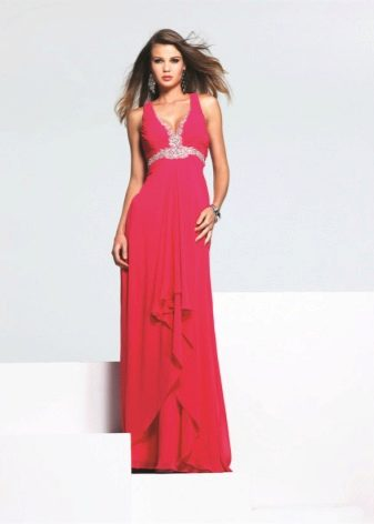 Светлое малиновое длинное платье