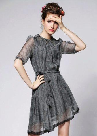 Короткое вечернее серое платье