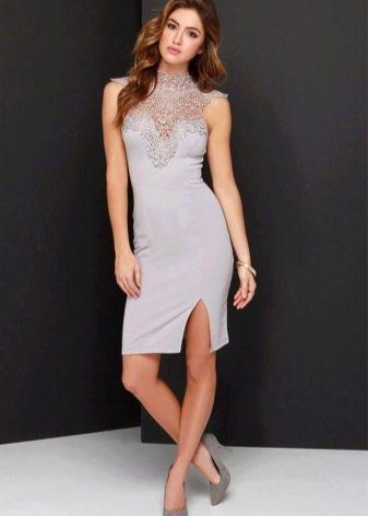 Классическое серое платье