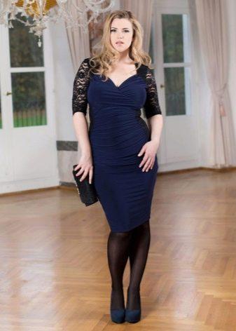 Темно-синее платье чулок для полных девушек