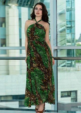Коричнево-зеленое платье