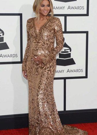Нарядное блестящее платье в пол с V-образным вырезом для беременных
