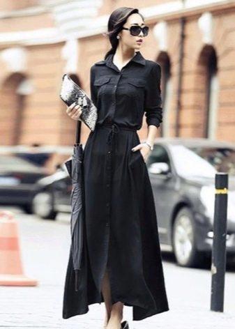 Длинное офисное платье рубашка для корпоратива