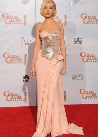 Персиковое платье с серой вставкой