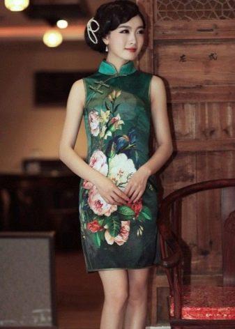 Платье ципао в китайском стиле разноцветное