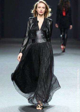 Вечернее платье в стиле рок  из шифона и кожи
