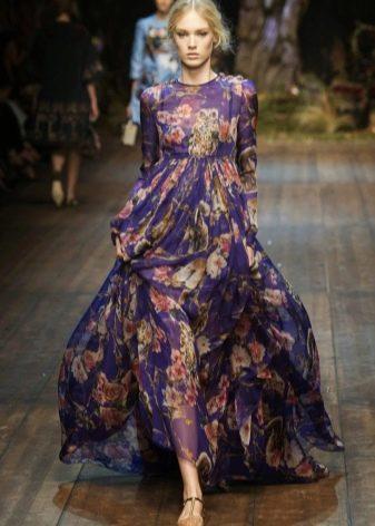 Цветочное платье с завишенной талией