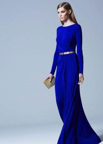 Закрытое синее платье в пол
