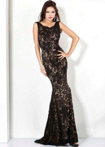 Кружевное платье в пол с эффектом обнаженного тела