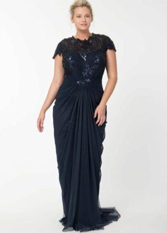 Шифоновое длинное в пол платье с кружевом для полных