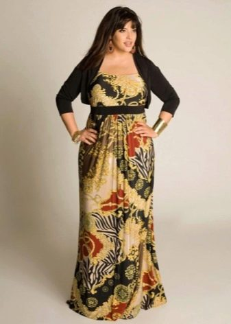 Цветное длинное платье из плотной ткани для полных