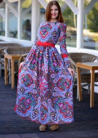 Русское народное современное длинное платье
