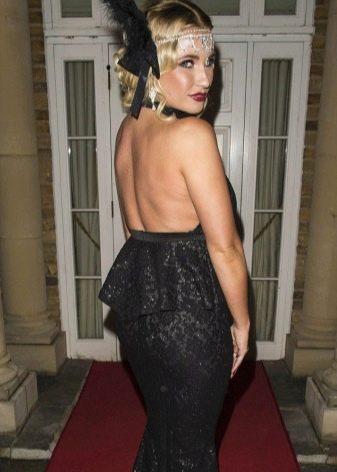Черное платье в стиле Гэтсби с открытой спиной