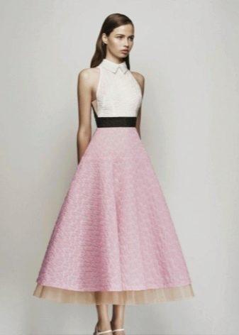 Розовое платье с белым верхом