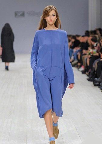 Шелковое платье с длинными рукавами