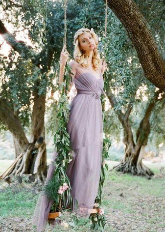 Платье серо-лавандового цвета для подружки невесты
