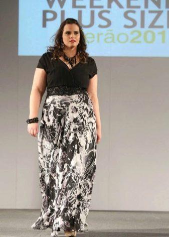 Длинное комбинированное трикотажное платье в пол для полных