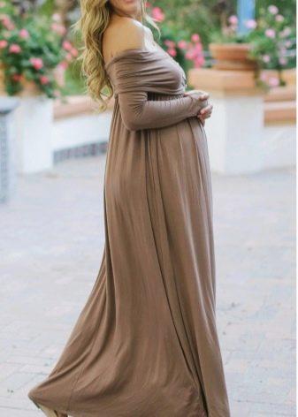 Длинное платье разлетайка в пол для беременных