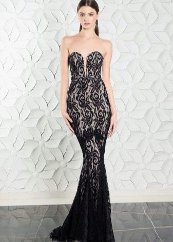 Открытое гипюровое платье русалка
